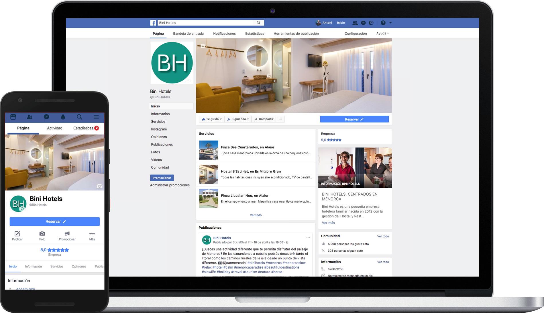 Facebook de Binihotels Menorca